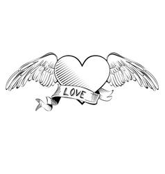 Heart with banner sketch cartoon vector image