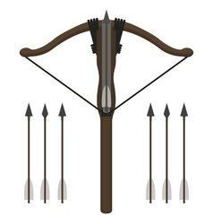 Medieval knight crossbow with arrows vector image