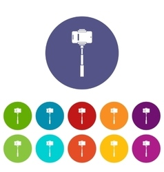 Mobile phone on a selfie stick set icons vector image vector image