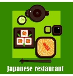 Traditional japanese cuisine and utensil vector image