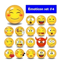 Set of cute smiley emoticons vector image
