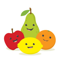 set with cute fruits vector image