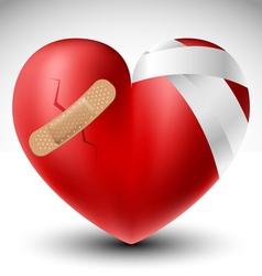 Broken heart with bandage vector image vector image