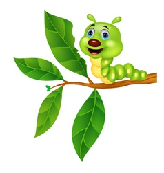 Cute caterpillar cartoon eating leaf vector image vector image