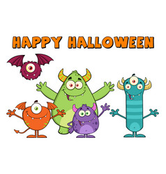 funny monsters with happy halloween text vector image vector image