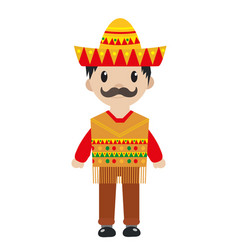 mexican in a traditional suite icon flat cartoon vector image