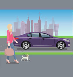 woman walking dog in city vector image