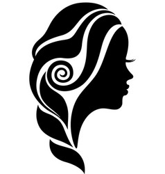 beautiful woman face in profile silhouette vector image vector image