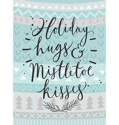Christmas card holiday hugs hand drawn style vector
