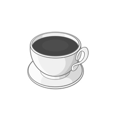 Coffee cup icon black monochrome style vector image vector image