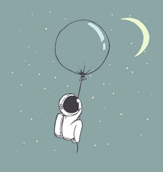 cute astronaut flies with balloon vector image vector image