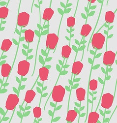 Flowers seamless pattern Red roses with green vector image