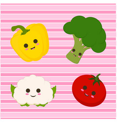 set with cute vegetables and lines vector image