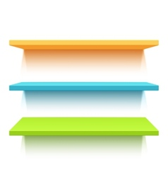 Three colorful realistic shelves vector image