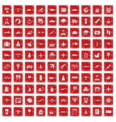 100 plane icons set grunge red vector