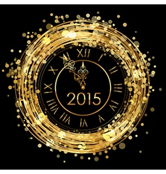 2015 - shiny new year clock vector