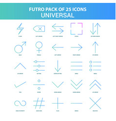25 green and blue futuro universal icon pack vector image