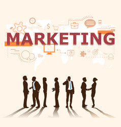 a group of businessmen plans for marketing vector image
