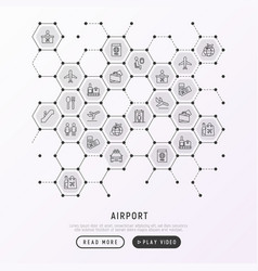 airport concept in honeycombs with thin line icons vector image