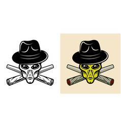 Alien head in hat and two weed joints two styles vector