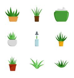 aloe vera plant icon set flat style vector image