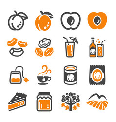 apricot icon set vector image