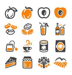 Apricot icon set vector