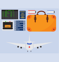 aviation icons set airline graphic airplane vector image