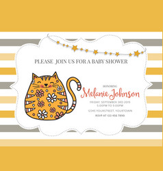 Baby shower card template with fat doodle cat vector