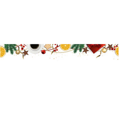 banner with christmas tree branches gold vector image