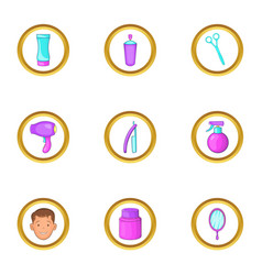 Barber shop equipment icons set cartoon style vector