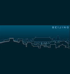 beijing multiple lines skyline and landmarks vector image