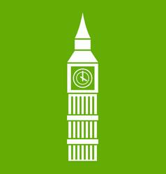 big ben clock icon green vector image
