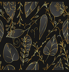 black and gold floral seamless pattern vector image