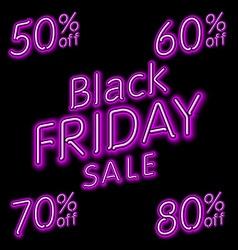 Black Friday Sale 50 60 70 80 retro light frame vector