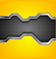 bright yellow and perforated metallic technology vector image