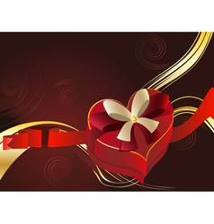 Brown Background with Heart Shaped Box2 vector image