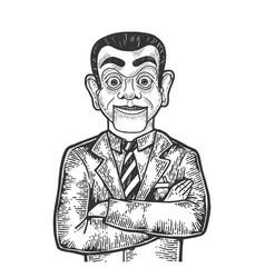 Businessman puppet head sketch engraving vector