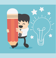 Businessman writing idea and light bulb on wall vector