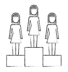 businesswomen in podium competition success vector image