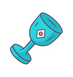 Chalice cup blue color icon medieval ancient vector