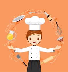 Chef With Kitchen Appliances Objects And Icons vector