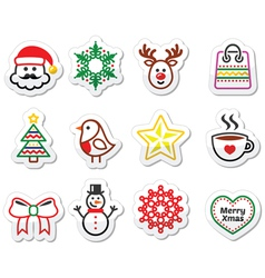 Christmas winter icons set - Santa Claus snowman vector