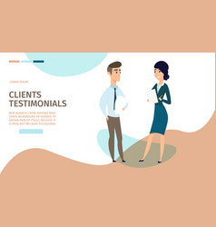 Clients testimonials cartoon web banner vector
