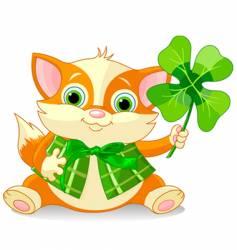 clover kitten vector image vector image