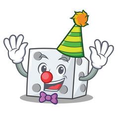 Clown dice character cartoon style vector