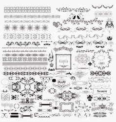 collection of hand drawn flourishes in engraved vector image
