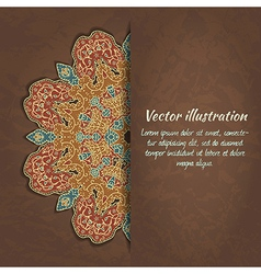 colorful card with ethnic ornament on grunge vector image