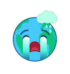 crying world globe isolated emoticon vector image