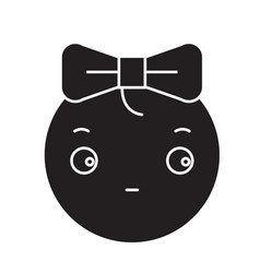 cute girly emoji black concept icon cute vector image